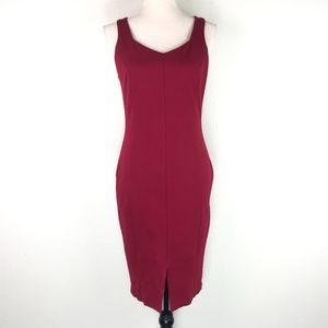 Lulu's Red Bodycon Vneck Front Slit Dress